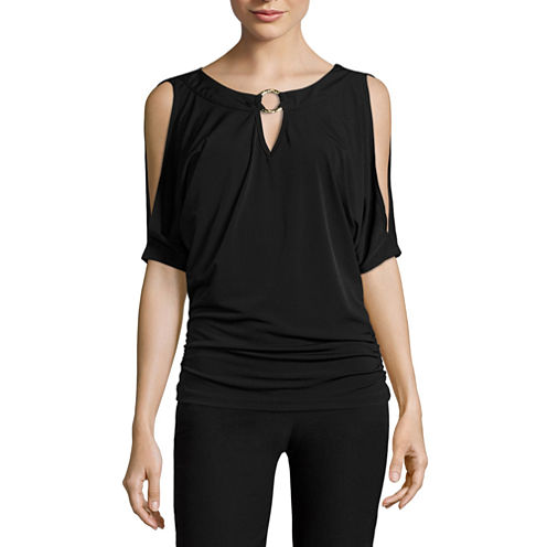 by&by Short Sleeve Keyhole Neck Knit Blouse-Juniors
