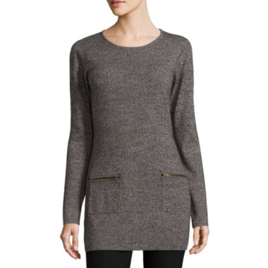 jcpenney.com | By&By Marl Zip Pocket Rib Tunic Scoop Neck Pullover Sweater-Juniors
