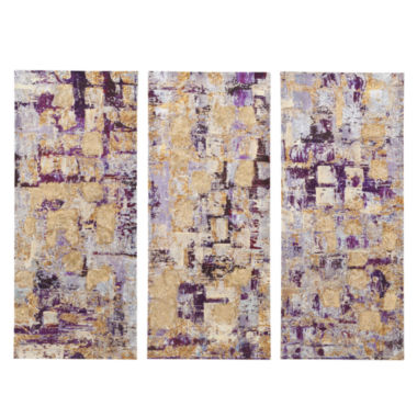 jcpenney.com | Madison Park Glided Violet Gel Coat Printed 3-pc. Canvas Art