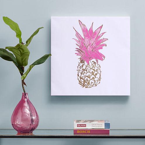 Intelligent Design Gold Pineapple Foil Embellished Canvas Art