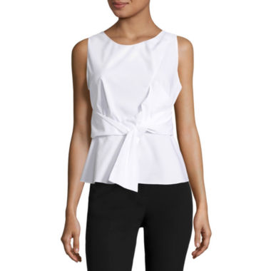 jcpenney.com | Worthington Bow Peplum Crew Neck Woven Blouse