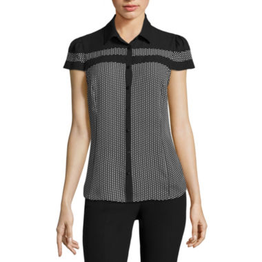 jcpenney.com | Worthington Short Sleeve Y Neck Woven Blouse