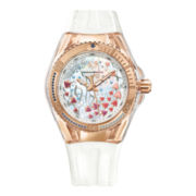 TechnoMarine® Cruise Aquarius Womens Mother-of-Pearl Dial White Chronograph Watch