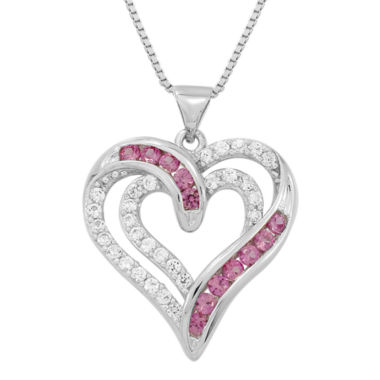 jcpenney.com | Sterling Silver Lab-Created Ruby & White Sapphire Heart Pendant Necklace