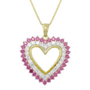 Sterling Silver Lab-Created Ruby & White Sapphire Heart Pendant