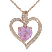 Lab-Created Pink & White Sapphire Heart Pendant Necklace