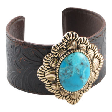 jcpenney.com | Art Smith by BARSE Genuine Turquoise & Smoky Leather Cuff Bracelet
