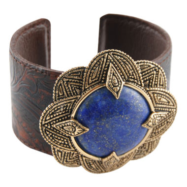 jcpenney.com | Art Smith by BARSE Genuine Blue Lapis & Smoky Leather Cuff Bracelet