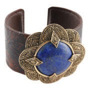 Art Smith by BARSE Genuine Blue Lapis & Smoky Leather Cuff Bracelet