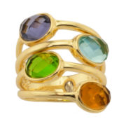 ATHRA Aqua & Smoky 4-Stone Resin Stack-Look Ring