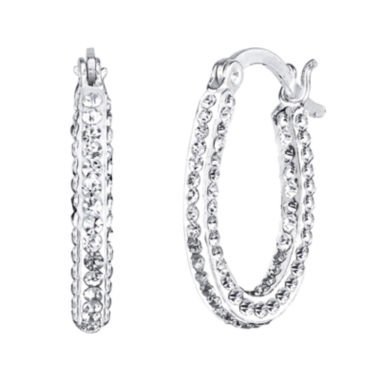 jcpenney.com | Crystal Sophistication™ Crystal-Accent Oval Hoop Earrings