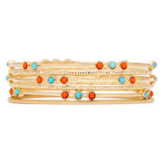 Liz Claiborne® Aqua and Coral Gold-Tone Bangle Bracelet
