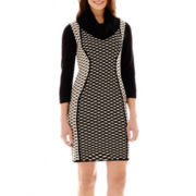 Studio 1® Long-Sleeve Twin Print Turtleneck Dress