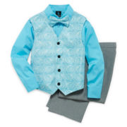 Steve Harvey® 4-pc. Dress Shirt, Clip-On Bow Tie, Vest and Pants Set – Boys 8-18