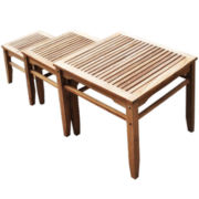 Teak 3-pc. Outdoor Nesting Table Set