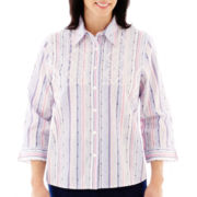 Alfred Dunner® Newport 3/4-Sleeve Embroidered Striped Shirt