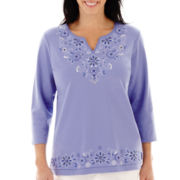 Alfred Dunner® Newport 3/4-Sleeve Embroidered Knit Top