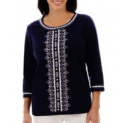 Alfred Dunner® Newport 3/4-Sleeve Embroidered-Center Knit Top