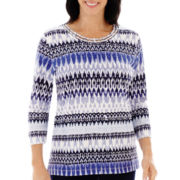 Alfred Dunner® Newport 3/4-Sleeve Ikat Biadere Knit Top
