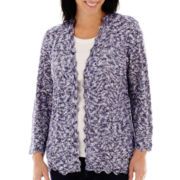 Alfred Dunner® Newport 3/4-Sleeve Space-Dye Cardigan Sweater