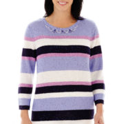 Alfred Dunner® Newport 3/4-Sleeve Sequin-Striped Sweater
