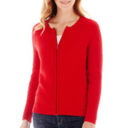 Liz Claiborne® Long-Sleeve Zip-Front Cardigan Sweater