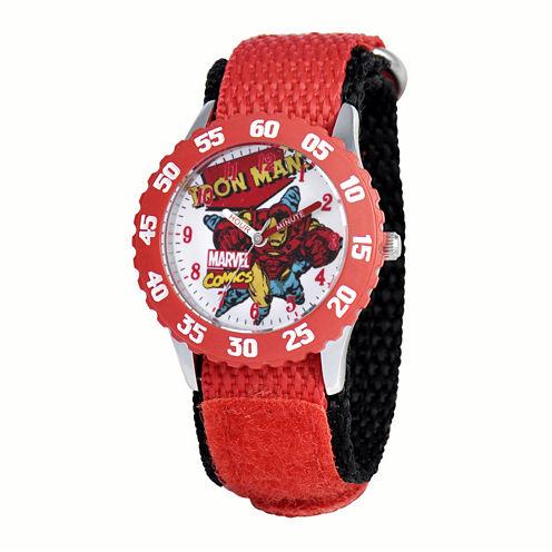 Marvel® Iron Man Kids Red Nylon Strap Watch