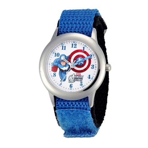 Marvel® Captain America Flying Kids Blue Nylon Strap Watch