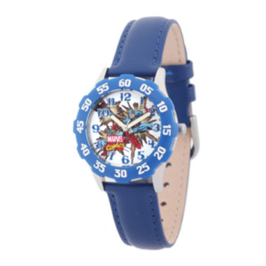 jcpenney.com | Marvel® Captain America Kids Blue Leather Strap Watch