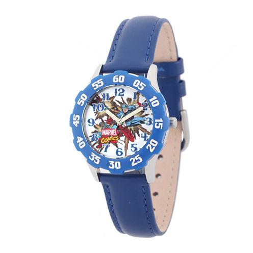 Marvel® Captain America Kids Blue Leather Strap Watch