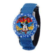 Disney Super Adventure Mickey Mouse Kids Blue Nylon Strap Watch