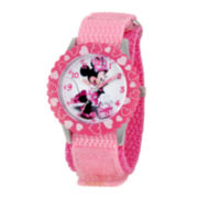 Disney Minnie Mouse Kids Pink Nylon Strap Watch