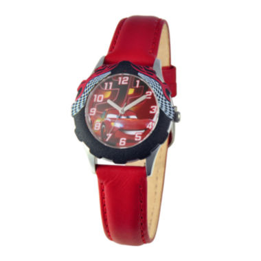 jcpenney.com | Disney Lightning McQueen Cars Kids Red Leather Strap Watch