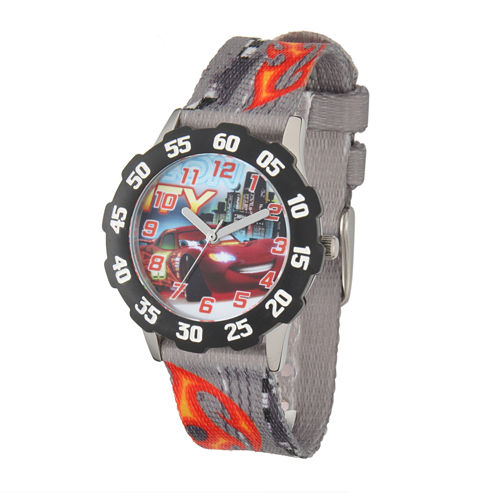 Disney Lightning McQueen Cars Kids Gray Nylon Strap Watch