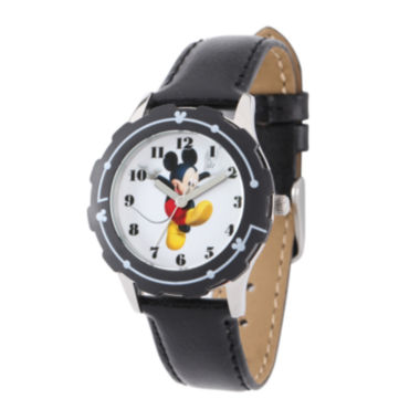 jcpenney.com | Disney Mickey Mouse Kids Black Leather Strap Watch