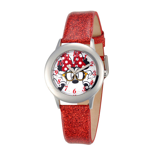 Disney Minnie Mouse Kids Red Glitter Leather Watch