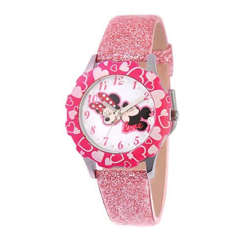 Disney Minnie Mouse Kids Pink Glitter Leather Strap Watch