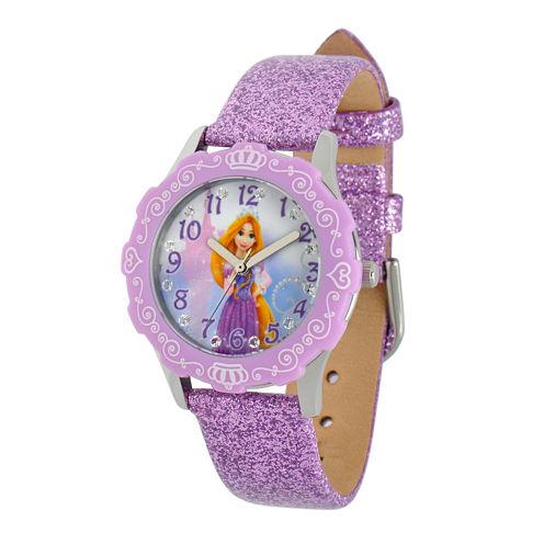 Disney Rapunzel Kids Purple Glitter Leather Strap Watch