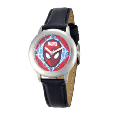 jcpenney.com | Marvel Spider-Man Kids Black Leather Strap Watch