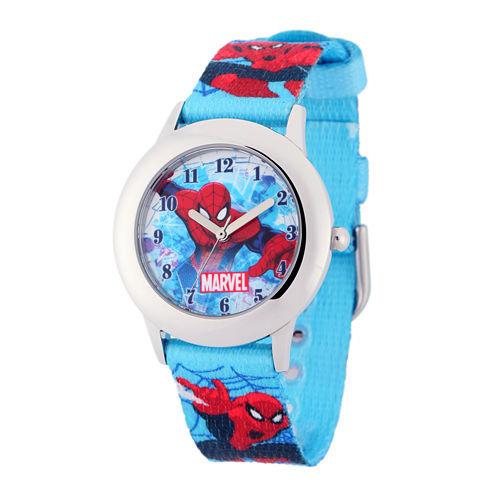 Marvel Spider-Man Kids Blue Nylon Strap Watch