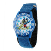 Disney Mickey Mouse Pluto Kids Blue Nylon Strap Watch