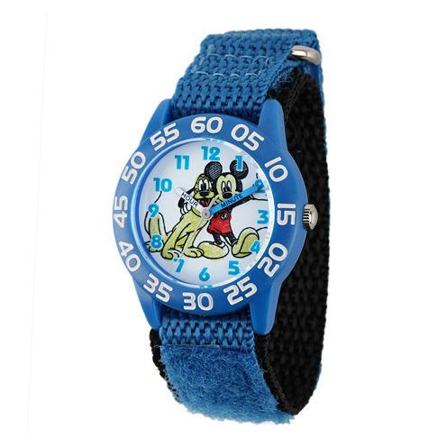 Disney Mickey Mouse Pluto Kids Blue Nylon Strap Watch