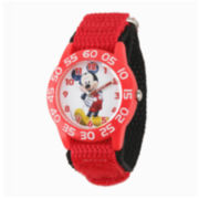Disney Mickey Mouse Kids Red Black Nylon Strap Watch