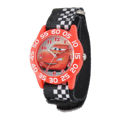 Disney Lightning McQueen Cars Kids Black White Nylon Strap Watch