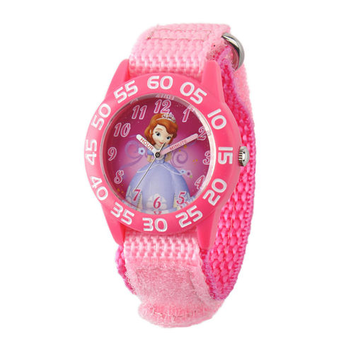 Disney Sofia the First Kids Pink Nylon Strap Watch