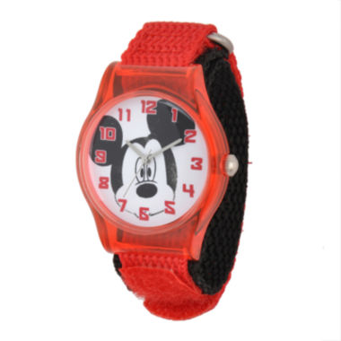 jcpenney.com | Disney Mickey Mouse Face Kids Red Nylon Strap Watch