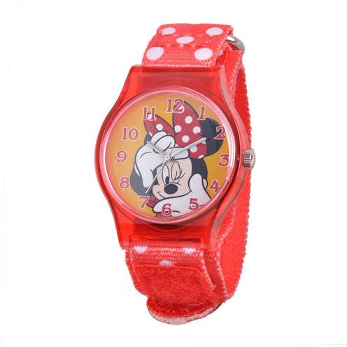 Disney Minnie Mouse Kids Red Dot Nylon Strap Watch