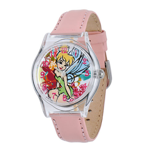 Disney Tinker Bell Kids Pink Leather Strap Watch