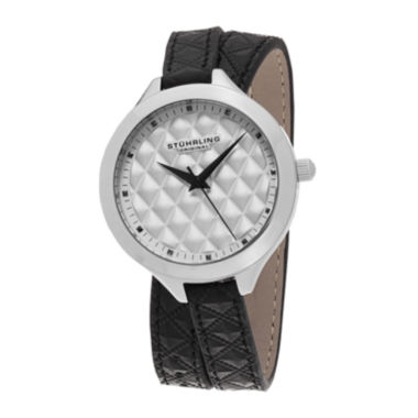 jcpenney.com | Stührling® Original Womens Quilt-Look Dial Black Leather Wrap Watch 7456.01
