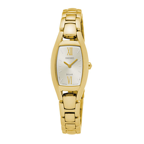 Seiko® Womens Solar Gold-Tone Bracelet Watch